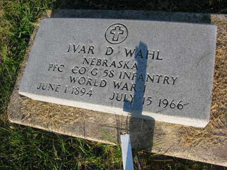 WAHL, IVAR D. - Burt County, Nebraska | IVAR D. WAHL - Nebraska Gravestone Photos