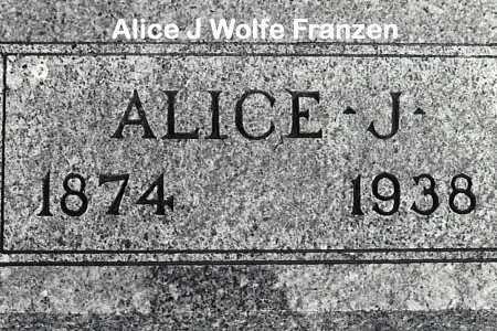 WOLFE FRANZEN, ALICE J - Cass County, Nebraska | ALICE J WOLFE FRANZEN - Nebraska Gravestone Photos