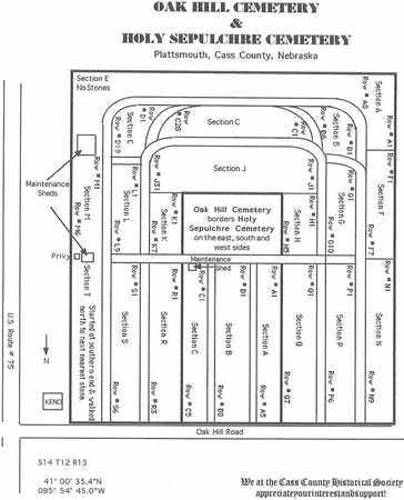 *HOLY SEPULCHRE CEMETERY, MAP FOR THE - Cass County, Nebraska   MAP FOR THE *HOLY SEPULCHRE CEMETERY - Nebraska Gravestone Photos