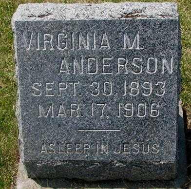 ANDERSON, VIRGINIA M. - Cedar County, Nebraska   VIRGINIA M. ANDERSON - Nebraska Gravestone Photos