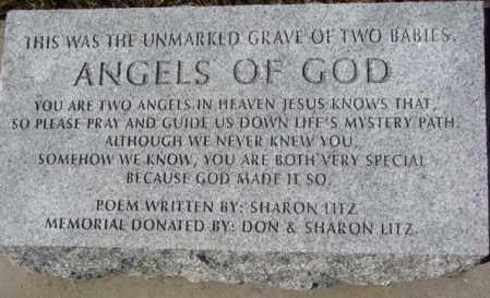 *ANGELS OF GOD, UNKNOWN - Cedar County, Nebraska | UNKNOWN *ANGELS OF GOD - Nebraska Gravestone Photos