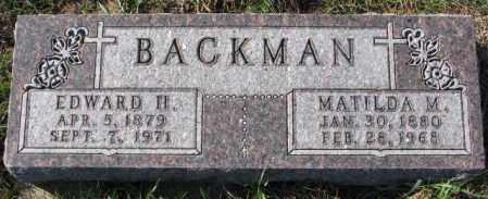 BACKMAN, MATILDA M. - Cedar County, Nebraska   MATILDA M. BACKMAN - Nebraska Gravestone Photos