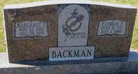 BACKMAN, FLORIAN E. - Cedar County, Nebraska | FLORIAN E. BACKMAN - Nebraska Gravestone Photos