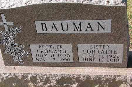 BAUMAN, LORRAINE - Cedar County, Nebraska | LORRAINE BAUMAN - Nebraska Gravestone Photos