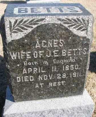 BETTS, AGNES - Cedar County, Nebraska | AGNES BETTS - Nebraska Gravestone Photos