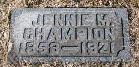 CHAMPION, JENNIE M. - Cedar County, Nebraska | JENNIE M. CHAMPION - Nebraska Gravestone Photos