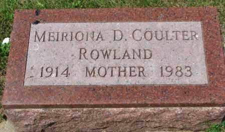 ROWLAND COULTER, MEIRIONA D. - Cedar County, Nebraska | MEIRIONA D. ROWLAND COULTER - Nebraska Gravestone Photos