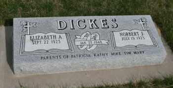 DICKES, ELIZABETH A - Cedar County, Nebraska | ELIZABETH A DICKES - Nebraska Gravestone Photos