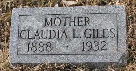 GILES, CLAUDIA L. - Cedar County, Nebraska | CLAUDIA L. GILES - Nebraska Gravestone Photos