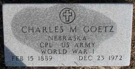 GOETZ, CHARLES M. (WW I) - Cedar County, Nebraska   CHARLES M. (WW I) GOETZ - Nebraska Gravestone Photos