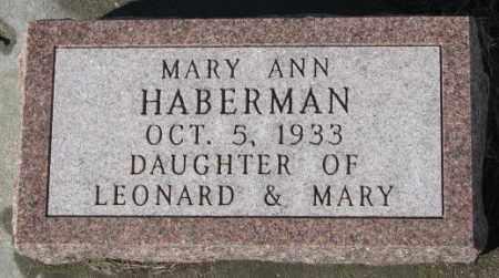 HABERMAN, MARY ANN - Cedar County, Nebraska   MARY ANN HABERMAN - Nebraska Gravestone Photos