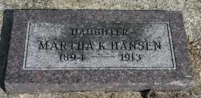 HANSEN, MARTHA K - Cedar County, Nebraska   MARTHA K HANSEN - Nebraska Gravestone Photos