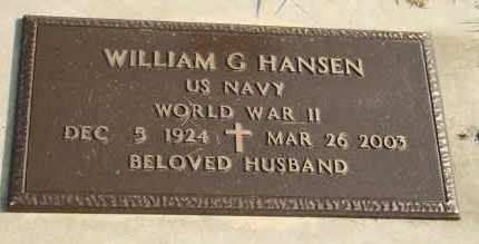 HANSEN, WILLIAM G - Cedar County, Nebraska | WILLIAM G HANSEN - Nebraska Gravestone Photos