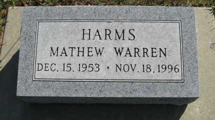 HARMS, MATHEW WARREN - Cedar County, Nebraska | MATHEW WARREN HARMS - Nebraska Gravestone Photos