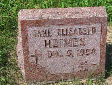HEIMES, JANE ELIZABETH - Cedar County, Nebraska | JANE ELIZABETH HEIMES - Nebraska Gravestone Photos