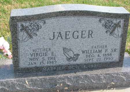 JAEGER, WILLIAM F. SR. - Cedar County, Nebraska | WILLIAM F. SR. JAEGER - Nebraska Gravestone Photos