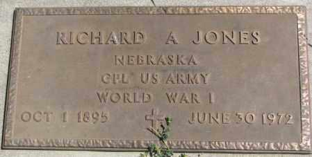 JONES, RICHARD A. (WW I MARKER) - Cedar County, Nebraska   RICHARD A. (WW I MARKER) JONES - Nebraska Gravestone Photos