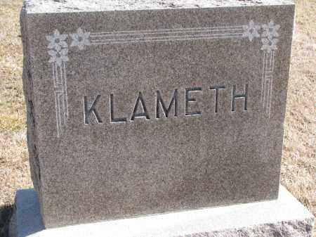 KLAMETH, PLOT STONE - Cedar County, Nebraska   PLOT STONE KLAMETH - Nebraska Gravestone Photos