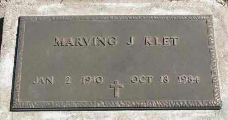 KLET, MARVING J. - Cedar County, Nebraska | MARVING J. KLET - Nebraska Gravestone Photos