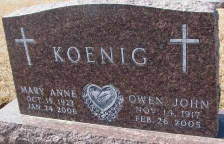 KOENIG, MARY ANNE - Cedar County, Nebraska | MARY ANNE KOENIG - Nebraska Gravestone Photos