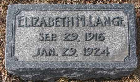 LANGE, ELIZABETH M. - Cedar County, Nebraska   ELIZABETH M. LANGE - Nebraska Gravestone Photos