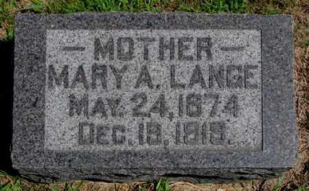 LANGE, MARY A. - Cedar County, Nebraska   MARY A. LANGE - Nebraska Gravestone Photos