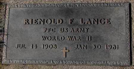 LANGE, RIENOLD F. (WW II) - Cedar County, Nebraska   RIENOLD F. (WW II) LANGE - Nebraska Gravestone Photos
