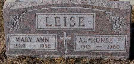 LEISE, ALPHONSE P. - Cedar County, Nebraska   ALPHONSE P. LEISE - Nebraska Gravestone Photos