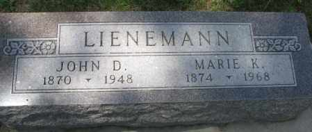LIENEMANN, JOHN D. - Cedar County, Nebraska | JOHN D. LIENEMANN - Nebraska Gravestone Photos