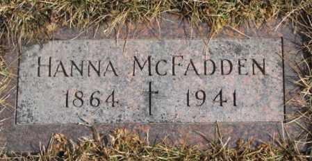 MCFADDEN, HANNA - Cedar County, Nebraska | HANNA MCFADDEN - Nebraska Gravestone Photos
