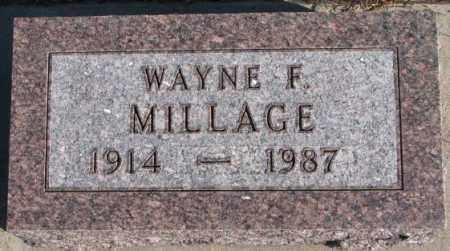 MILLAGE, WAYNE F. - Cedar County, Nebraska | WAYNE F. MILLAGE - Nebraska Gravestone Photos