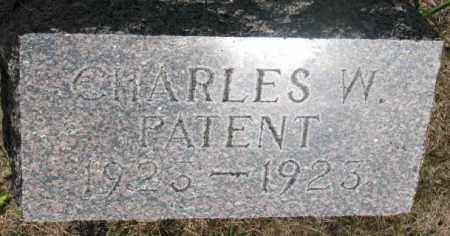 PATENT, CHARLES W. - Cedar County, Nebraska | CHARLES W. PATENT - Nebraska Gravestone Photos