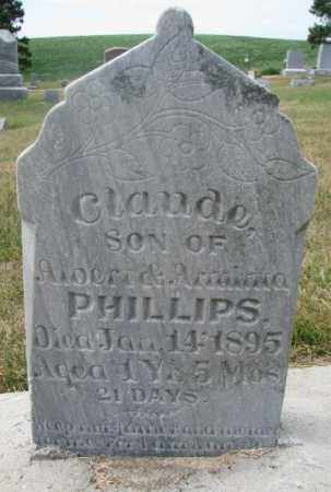 PHILLIPS, CLAUDE - Cedar County, Nebraska   CLAUDE PHILLIPS - Nebraska Gravestone Photos