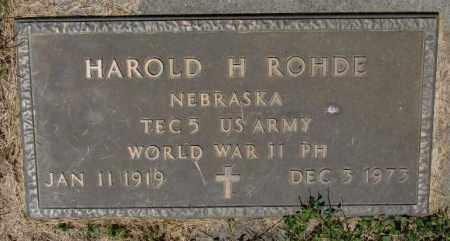ROHDE, HAROLD H. (WW II) - Cedar County, Nebraska | HAROLD H. (WW II) ROHDE - Nebraska Gravestone Photos