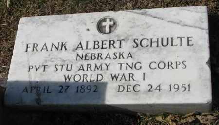 SCHULTE, FRANK ALBERT - Cedar County, Nebraska | FRANK ALBERT SCHULTE - Nebraska Gravestone Photos