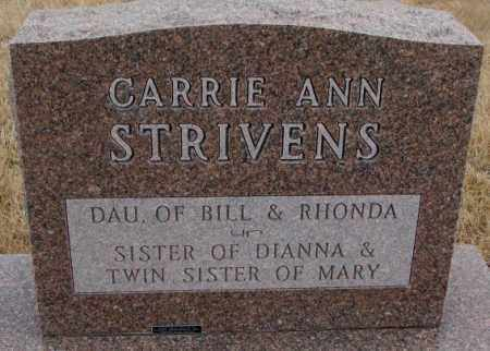 STRIVENS, CARRIE ANN (REAR OF STONE) - Cedar County, Nebraska   CARRIE ANN (REAR OF STONE) STRIVENS - Nebraska Gravestone Photos