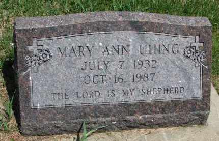 UHING, MARY ANN - Cedar County, Nebraska | MARY ANN UHING - Nebraska Gravestone Photos