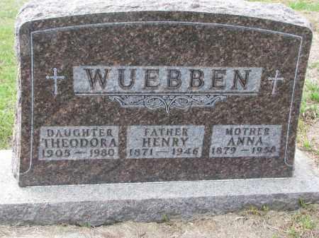 WUEBBEN, THEODORA - Cedar County, Nebraska | THEODORA WUEBBEN - Nebraska Gravestone Photos