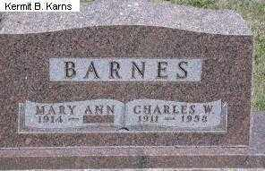 BARNES, MARY ANN - Chase County, Nebraska | MARY ANN BARNES - Nebraska Gravestone Photos