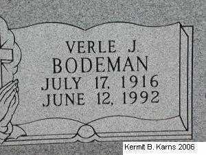BODEMAN, VERLE J. - Chase County, Nebraska | VERLE J. BODEMAN - Nebraska Gravestone Photos