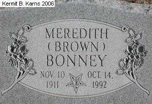 BROWN BONNEY, MEREDITH - Chase County, Nebraska | MEREDITH BROWN BONNEY - Nebraska Gravestone Photos