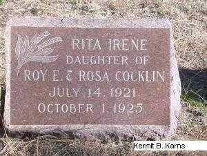COCKLIN, RITA IRENE - Chase County, Nebraska | RITA IRENE COCKLIN - Nebraska Gravestone Photos