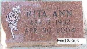 KANOST CONNER, RITA ANN - Chase County, Nebraska | RITA ANN KANOST CONNER - Nebraska Gravestone Photos