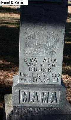DUDEK, EVA ADA - Chase County, Nebraska | EVA ADA DUDEK - Nebraska Gravestone Photos