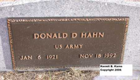 HAHN, DONALD D. - Chase County, Nebraska | DONALD D. HAHN - Nebraska Gravestone Photos