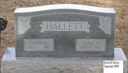 HALLETT, TONA F. - Chase County, Nebraska | TONA F. HALLETT - Nebraska Gravestone Photos
