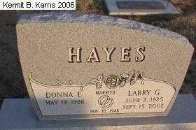 HAYES, DONNA ELAINE - Chase County, Nebraska | DONNA ELAINE HAYES - Nebraska Gravestone Photos