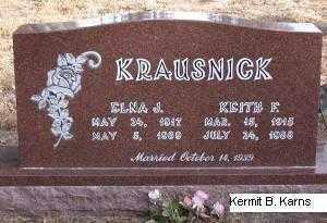 KRAUSNICK, ELNA J. - Chase County, Nebraska | ELNA J. KRAUSNICK - Nebraska Gravestone Photos