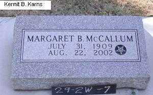 MCCALLUM, MARGARET B. - Chase County, Nebraska | MARGARET B. MCCALLUM - Nebraska Gravestone Photos