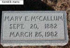 MCCALLUM, MARY ELIZABETH - Chase County, Nebraska | MARY ELIZABETH MCCALLUM - Nebraska Gravestone Photos